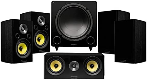 Fluance Signature Series Compact Surround Sound Home Theater 5.1 Channel Speaker System Including Two-Way Bookshelf, Center, Rear Surround Speakers, and DB12 Subwoofer – Black Ash (HF51BC)