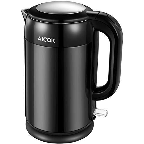 Aicok Electric Kettle, Double Wall Cool Touch Water Boiler with 100% Stainless Steel Interior, 1500W 1.7L BPA Free Tea Kettle with Auto Shut-Off and Boil-Dry Protection, Black