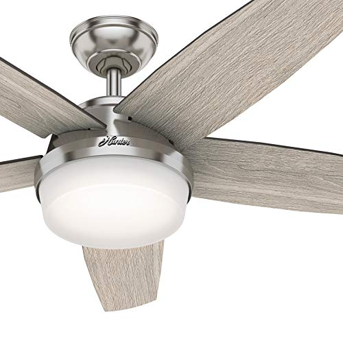 Hunter Fan 52 inch Contemporary Brushed Nickel Indoor Ceiling Fan with Light Kit and Remote Control (Renewed)