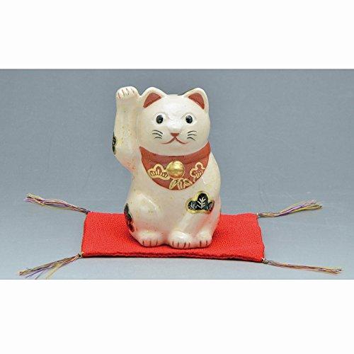 Kiyomizu-kyo yaki ware. Japanese ceramic ornament. Beckoning cat white. Fortune manekineko. kymz-ERN140