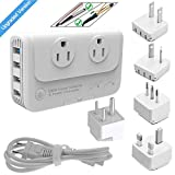 Step Down 220V to 110V Voltage Converter & International Travel Adapter Kits for Hair Straightener/Curling Iron AULLSUMY-QC 3.0 Universal Power Adapter with US/UK/AU/EU/Italy/India Worldwide Plug 200W