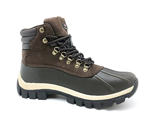 LM Men Waterproof Rubber Sole Winter Snow Boots Work Boots 7014 (10 D(M) US, 2017 Brown)