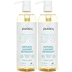 Puracy Natural Liquid Laundry Detergent (192 Loads), Hypoallergenic, Enzyme-Based, Fresh Linen, 24 Ounce (Pack of 2)