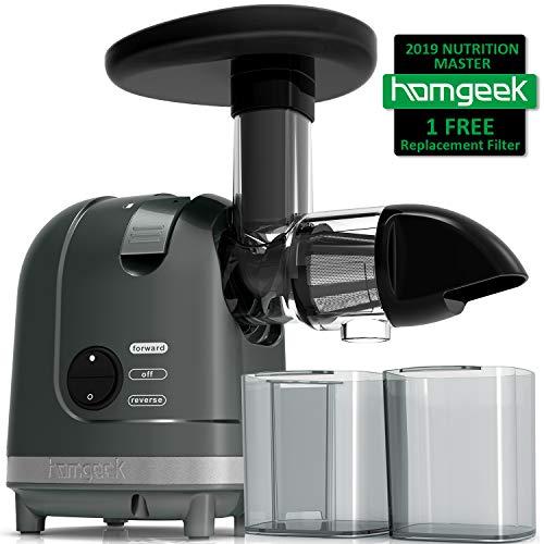 Masticating Juicer, Homgeek Cold Press Juicer with Quiet...