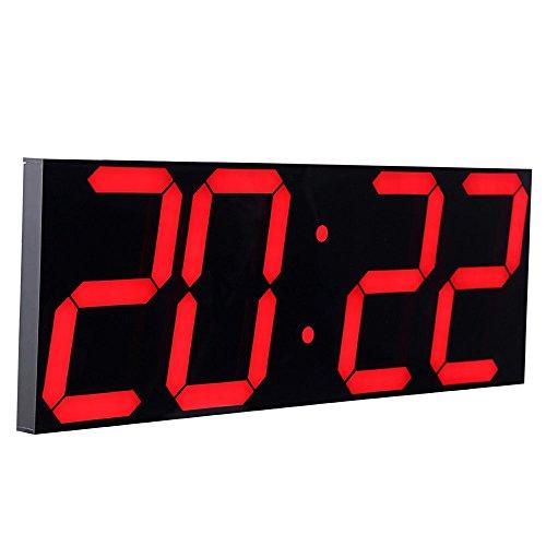 CHKOSDA Remote Control Jumbo Digital Led Wall Clock, Multifunction Led Clock, Large Calendar, Minute Alarm Clock, Countdown Led Clock, Big Thermometer, Mute Clock (Red, Shell)