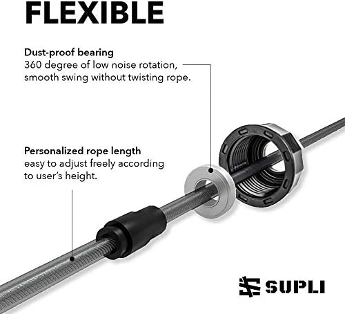 """SUPLI [2020 Upgraded] Jump Rope Tangle-Free with Ball Bearings Rapid Speed Jump Rope Cable and 6"""" Memory Foam Handles Ideal for Aerobic Exercise Speed Training Endurance Training Fitness Gym 4"""