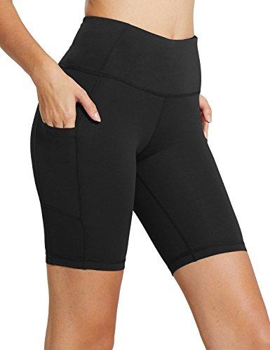 "Baleaf Women's 8"" High Waist Workout Yoga Shorts Tummy Control Side Pockets Black Size S"