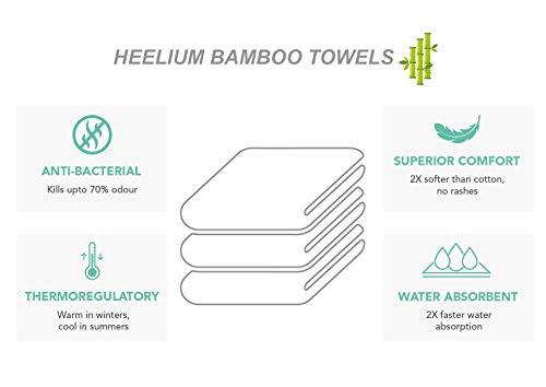 Heelium Bamboo Hand Towel for Sports & Gym, Ultra Soft, Super Absorbent, Antibacterial, 600 GSM, 25 inch x 15 inch, Pack of 2 4