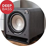 Polk Audio HTS 12 Powered Subwoofer with Power Port Technology | 12' Woofer, up to 400W Amp | For the Ultimate Home Theater Experience | Modern Sub that Fits in any Setting | Washed Black Walnut