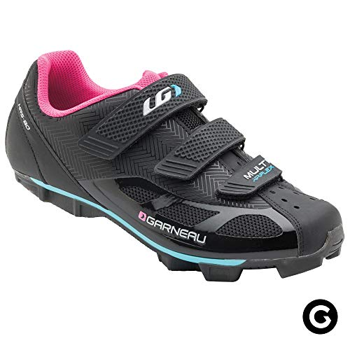 Louis Garneau Women's Multi Air Flex Bike Shoes for Indoor Cycling, Commuting and MTB, SPD Cleats Compatible with MTB Pedals, Black/Pink, US (9), EU (40)