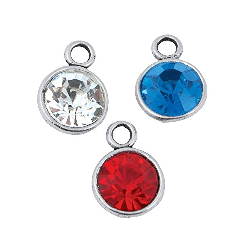 Fun Express - Patriotic Rhinestone Charms for Fourth of July - Craft Supplies - Adult Beading - Charms - Fourth of July - 12 Pieces