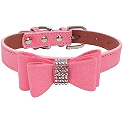 Howstar Pet Collars, Pet Supplies Adjustable Bowknot Dog Cat Necklace Rhinestone Crystal Bling Dog Collar (L, ➹Pink)