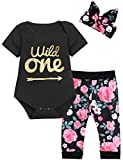 Baby Girls Floral Outfit Set Wild One Short Sleeve Bodysuit with Headband (12-18 Months, Black Short)
