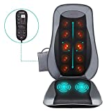 Naipo Back Massage Seat Cushion with Heat for Chair, Deep Kneading Rolling and Vibrating - Full Back Massager for Home Office Car Use