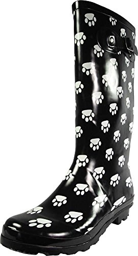 NORTY - Womens Hurricane Wellie Gloss Hi-Calf Paw Printed Rain Boot, Black, White 39209-9B(M) US