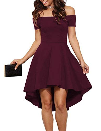 Sarin Mathews Womens Off The Shoulder Short Sleeve High Low Cocktail Skater Dress 1 Fashion Online Shop Gifts for her Gifts for him womens full figure