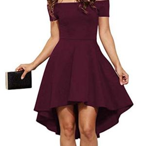 Sarin Mathews Womens Off The Shoulder Short Sleeve High Low Cocktail Skater Dress 2 🛒 Fashion Online Shop gifts for her gifts for him womens full figure