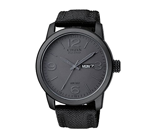 41b4q8YDhIL Black, ion-plated stainless steel watch with black nylon strap Date window with 42mm screw-back case Water resistant to 333ft. (100m)