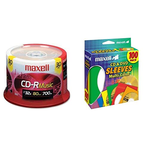 Maxell 625335 High-Sensitivity Recording Layer Recordable CD 700mb/80 min & 190132 CD & DVD Paper Storage Envelope Sleeves with Heavy-duty Paper and Clear Plastic Window Multi-Color 100 Pack (Paper)