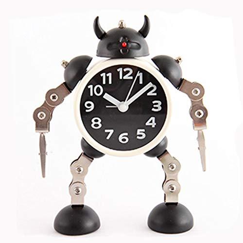Deformed Robot Flashing Alarm Clock Children's Cartoon Alarm Clock Clock Metal Plastic Hands and Feet Can Be Rotated (Color : Black)