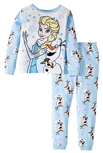 Disney Frozen Elsa and Olaf Little Girls' Toddler 2 Piece Pajama Set (2T),Blue