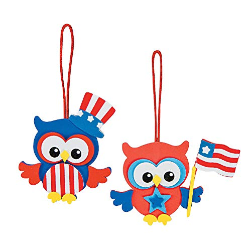 Fun Express - Patriotic Owl Ornament CK-12 for Fourth of July - Craft Kits - Ornament Craft Kits - Foam - Fourth of July - 12 Pieces