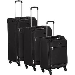 """AmazonBasics Softside Spinner Luggage - 3 Piece Set (21"""", 25"""", 29""""), Black"""