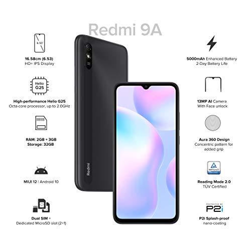 41bNKAujZJL Redmi 9A (Midnight Black 2GB RAM 32GB Storage) | 2GHz Octa-core Helio G25 Processor | 5000 mAh Battery