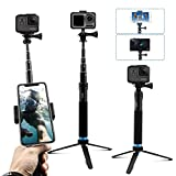 AFAITH Upgraded Pole for GoPro, Aluminum Alloy Selfie Stick Tripod with Stable Stand Waterproof Handheld Monopod for GoPro Hero 7/6/5/4/ Osmo Action Camera/Xiao Yi Action Camera
