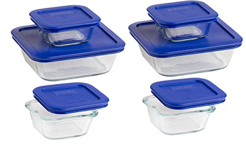 Pyrex Square Glass Food Storage Container set. Used For Baking, Storage,Freezer, And Lunch Box (light Blue, four 1-cup & two 4-cup)