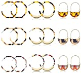 LOLIAS 9 Pairs Acrylic Resin Hoop Earrings for Women Girls Leopard Tortoise Boho Statement Fashion Jewelry