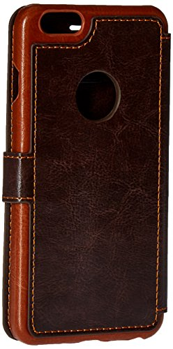 VRS Design [Coffee Brown] Premium Leather Folio Case Flip Wallet Cover [Layered Dandy] Classic Leather with 3 Card Slots Phone Case for Apple iPhone 6 Plus / iPhone 6s Plus