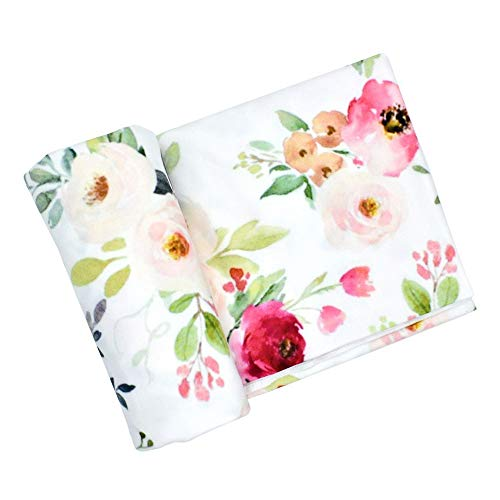 Newborn Baby Swaddle Blanket, Watercolor Floral Print Oversized Super Soft Large Receiving Blanket for Infant Boys and Girls (Rose Floral, 86x137cm/33.86x53.94inch)