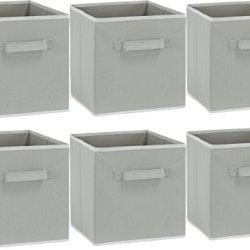 6 Pack – SimpleHouseware Foldable Cube Storage Bin, Grey