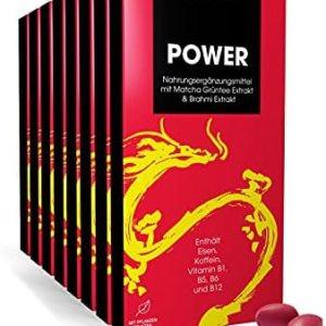 Qinao® – ehemals nao – POWER* 1-Monats-Packung 4 x 7 POWER Dragees   Nahrungsergänzungsmittel mit Matcha Grüntee Extrakt, Brahmi Extrakt, B-Vitaminen & Eisen [BRAINFOOD – Made in Germany]