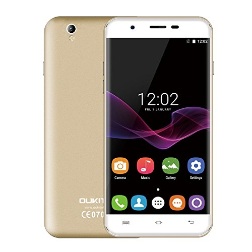 OUKITEL U7 Max 1GB + 8GB 5.5 Inch 2.5D Curved Screen, Android 7.0 OS MT6580A Quad Core 64-bit 1.3GHz WCDMA & GSM (Champagne Gold)