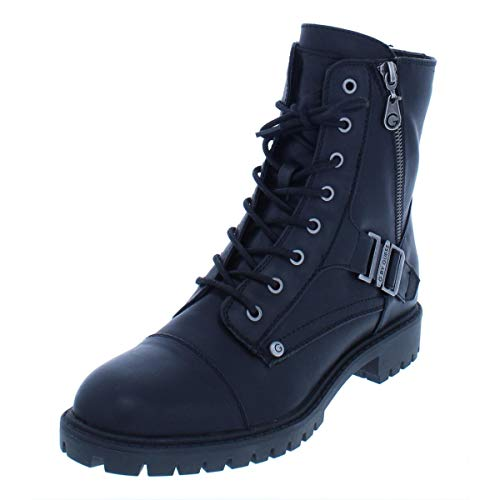 G by GUESS Womens Peeder Faux Leather Lace-Up Combat Boots 6.5M Black