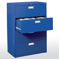 Sandusky Lee LF6A364-06 600 Series 4 Drawer Lateral File Cabinet, 19.25″ Depth x 53.25″ Height x 36″ Width, Blue