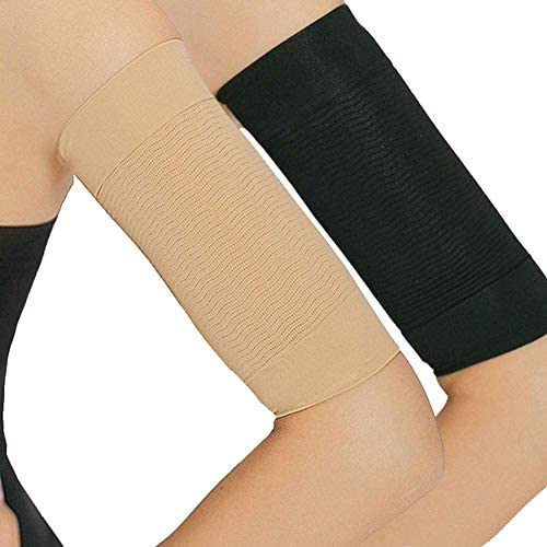 2 Pair Arm Slimming Shaper Wrap, Arm Compression Wrap Sleeve Helps Lose Arm Fat, Tone up Arm Shaping Sleeves for Women, Sport Fitness Arm Shapers(Beige + Black) 1