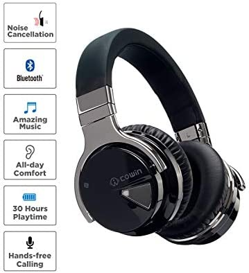 COWIN E7 Active Noise Cancelling Headphones Bluetooth Headphones with Microphone Deep Bass Wireless Headphones Over Ear, Comfortable Protein Earpads, 30 Hours Playtime for Travel/Work, Black 14