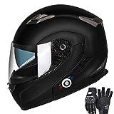 Motorcycle Bluetooth Helmets,FreedConn Flip up Dual Visors Full Face Helmet,Built-in Integrated Intercom Communication System(Range 500M,2-3Riders Pairing,FM radio,Waterproof,XL,Matte Black)