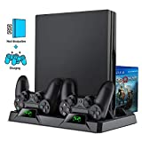 ESYWEN PS4 Slim/ PS4 pro/ PS4 Vertical Stand Cooling Fan, Dual PS4 Controller Charger with LED Indicator and Game Storage for PS4 Game Console