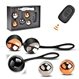 Kegel Balls Exercise Weight, Waterproof Silicone Ben Wa Balls Kit with Rechargeable Remote Control Massage Ball Doctor Recommended for Women Bladder Control and Pelvic Floor Exercises