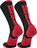 TCK Elite Performance Crew Socks (Black/Scarlet, Medium)