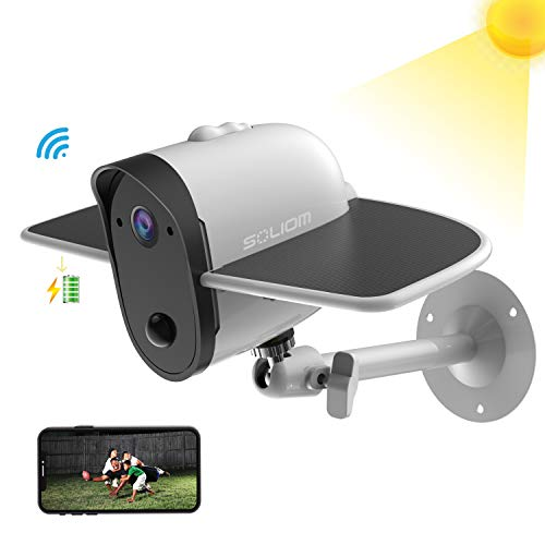 Outdoor Solar Battery Powered Security Camera, Soliom Bird S60 1080p Home Wireless IP Cam with Accurate Motion Detection Tracking; Wide Angle Range, Quick Alert and Night Vision