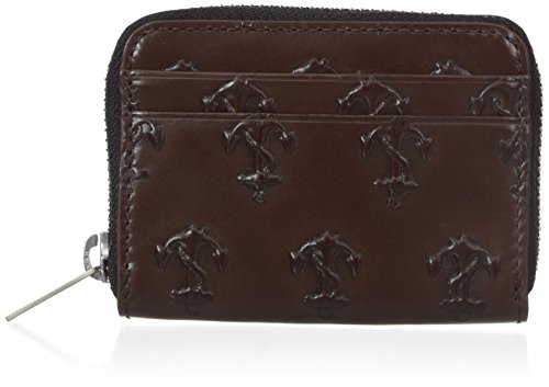 41bmjKV%2BkEL Made of 100 percent leather It features two exterior credit card slots and zip around larger interior pocket for coins