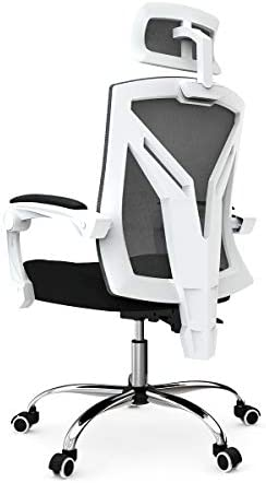 Hbada Ergonomic Home Office Chair – High-Back Desk Chair Racing Style with Lumbar Support – Height Adjustable Seat,Headrest- Breathable Mesh Back – Soft Foam Seat Cushion, White