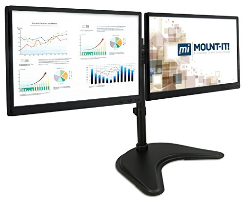 Dual Monitor Freestanding Desk Stand - For Two VESA Compatible 20, 23, 24, 27 Inch Screen Sizes, 44Lb Capacity, Black (MI-1781)