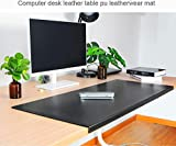 """Non-Slip Soft Leather Surface Office Desk Mouse Mat Pad with Full Grip Fixation Lip Table Blotter Protector 35.4""""x 15.8' Leather Mat Edge-Locked(Black)"""