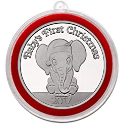 elephant christmas ornament 2017 babys first christmas baby elephant silver medallion in ornament holder
